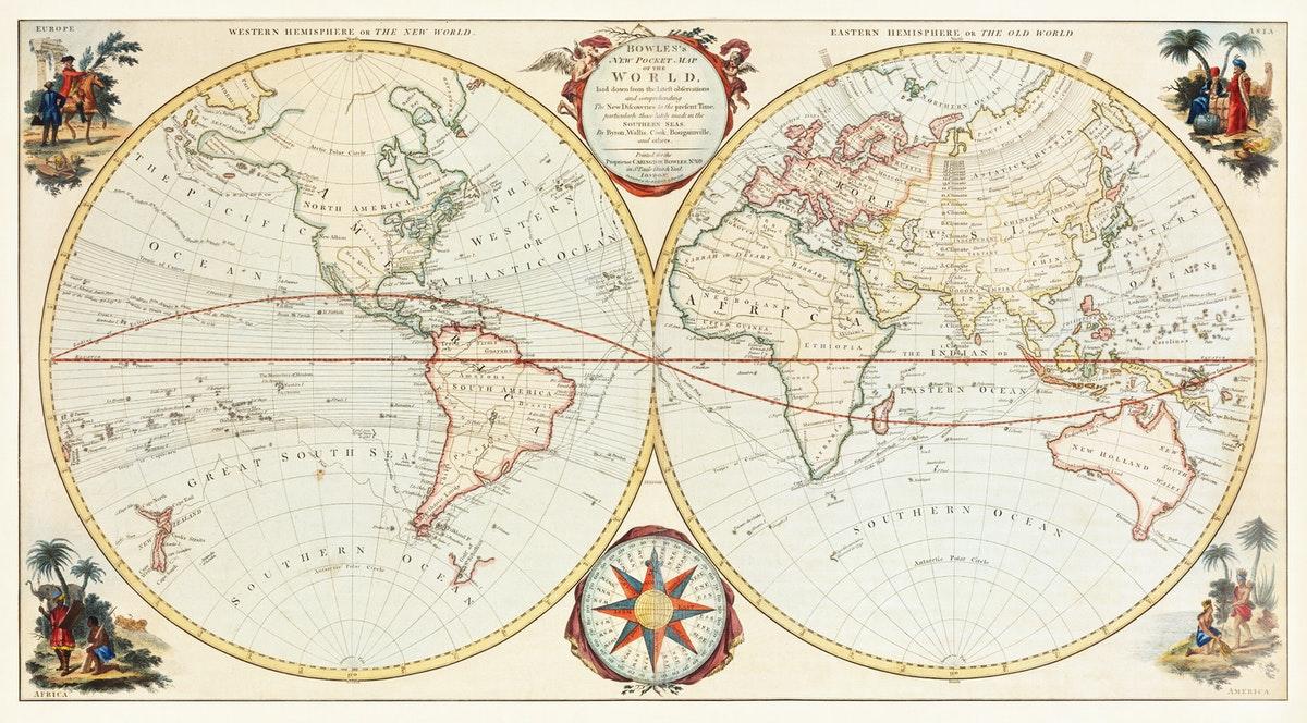 carte du monde ancienne pour la géographie