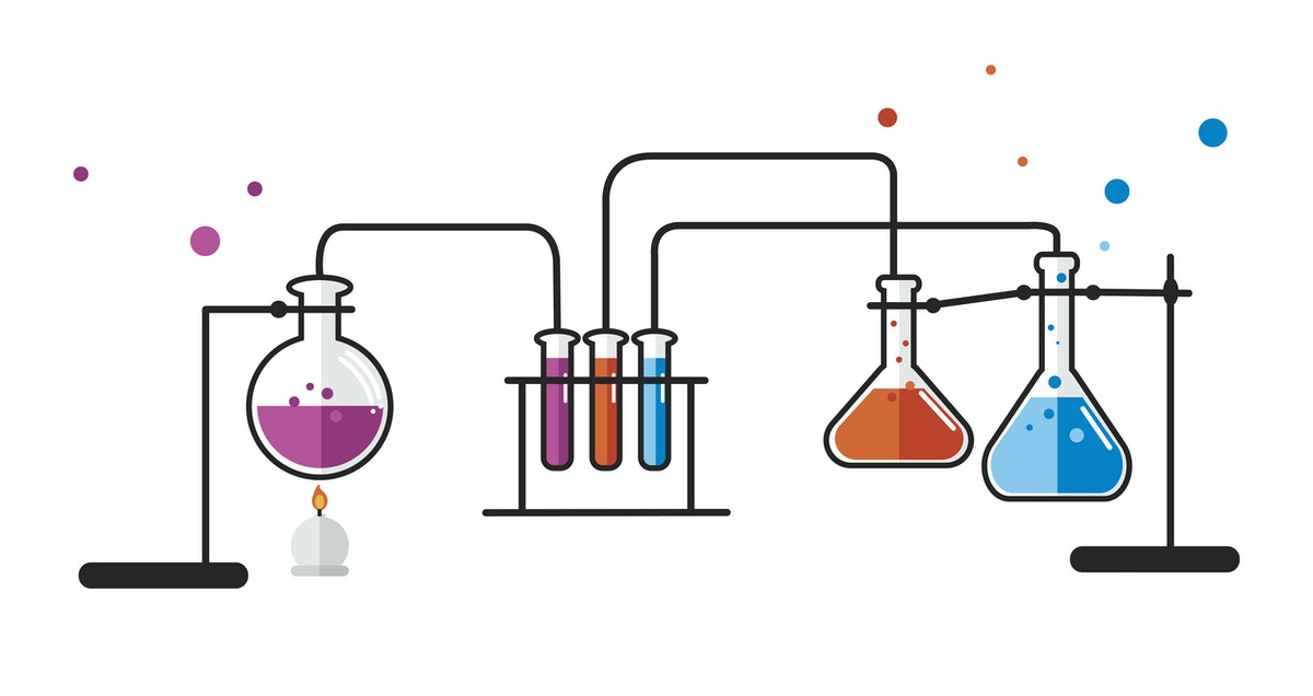 schéma d'une expérience de chimie