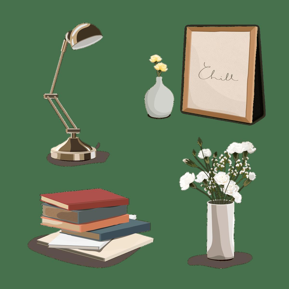 tous les outils pour travailler son français : une lampe, des livres et des fleurs