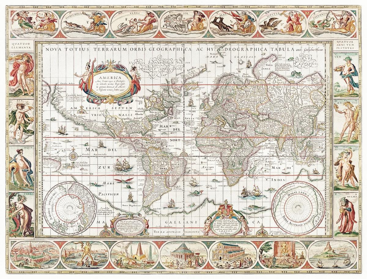 carte du monde du XVIIIe siècle