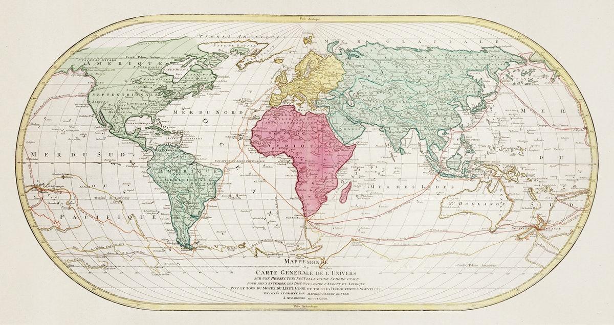 carte du monde et des trajets marins au XIXe siècle