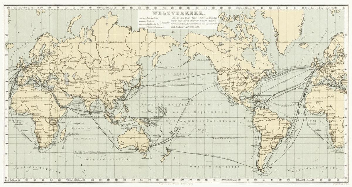 carte des échanges maritimes du monde