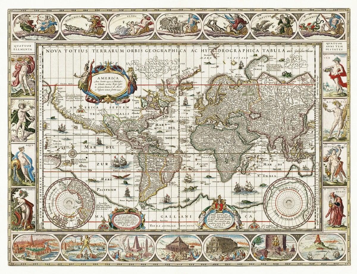 carte du monde et des fleuves au XVIIème siècle