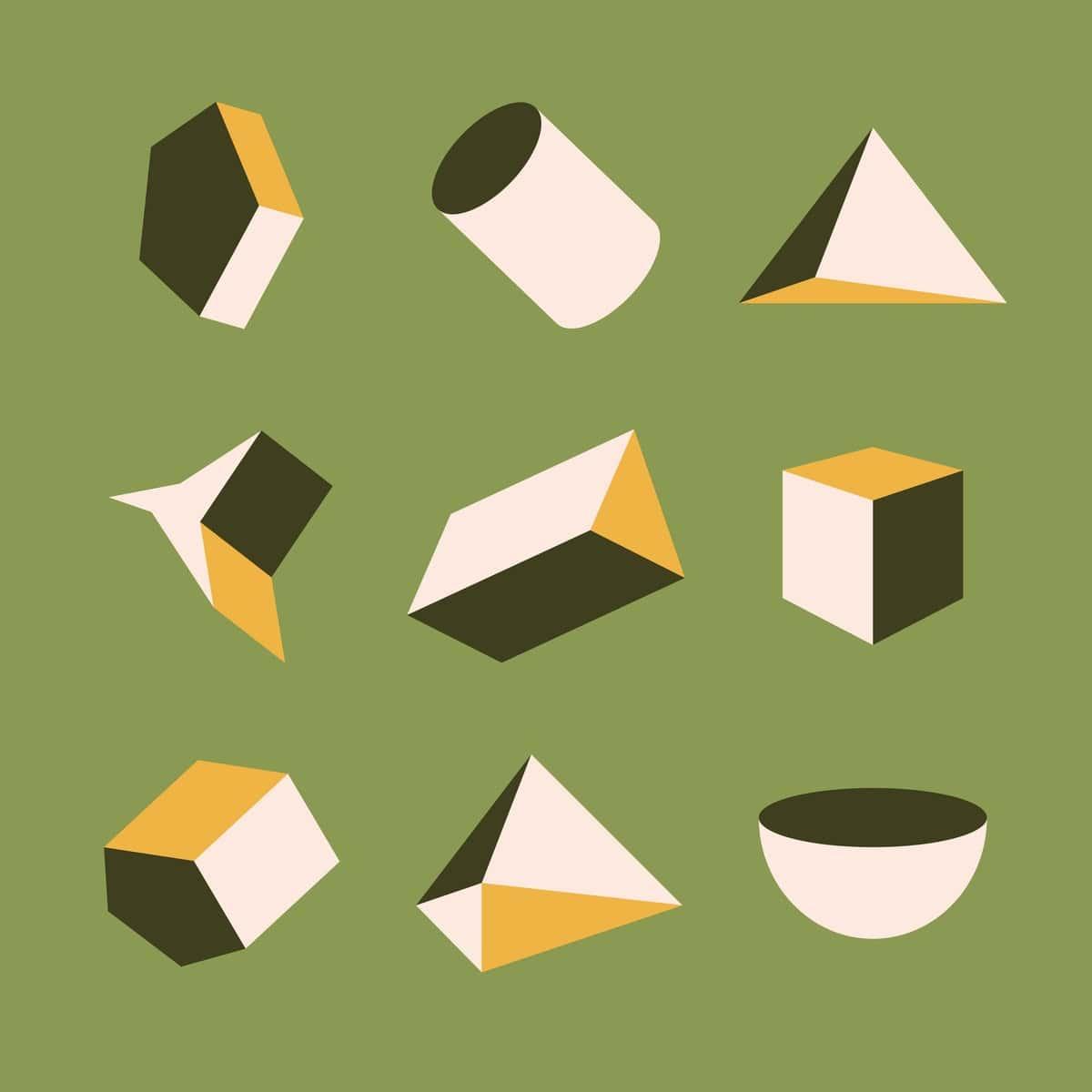 un ensemble de formes géométriques classiques des mathématiques