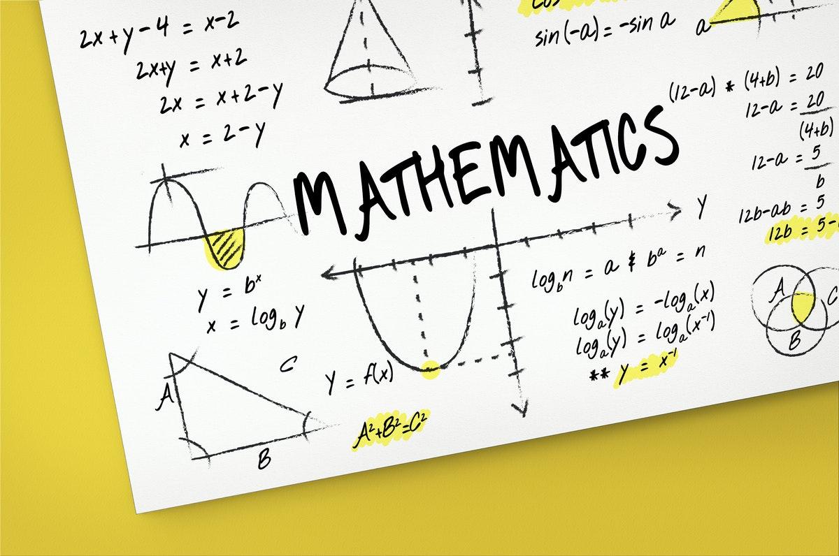 une pancarte affichant plusieurs démonstrations et équations mathématiques