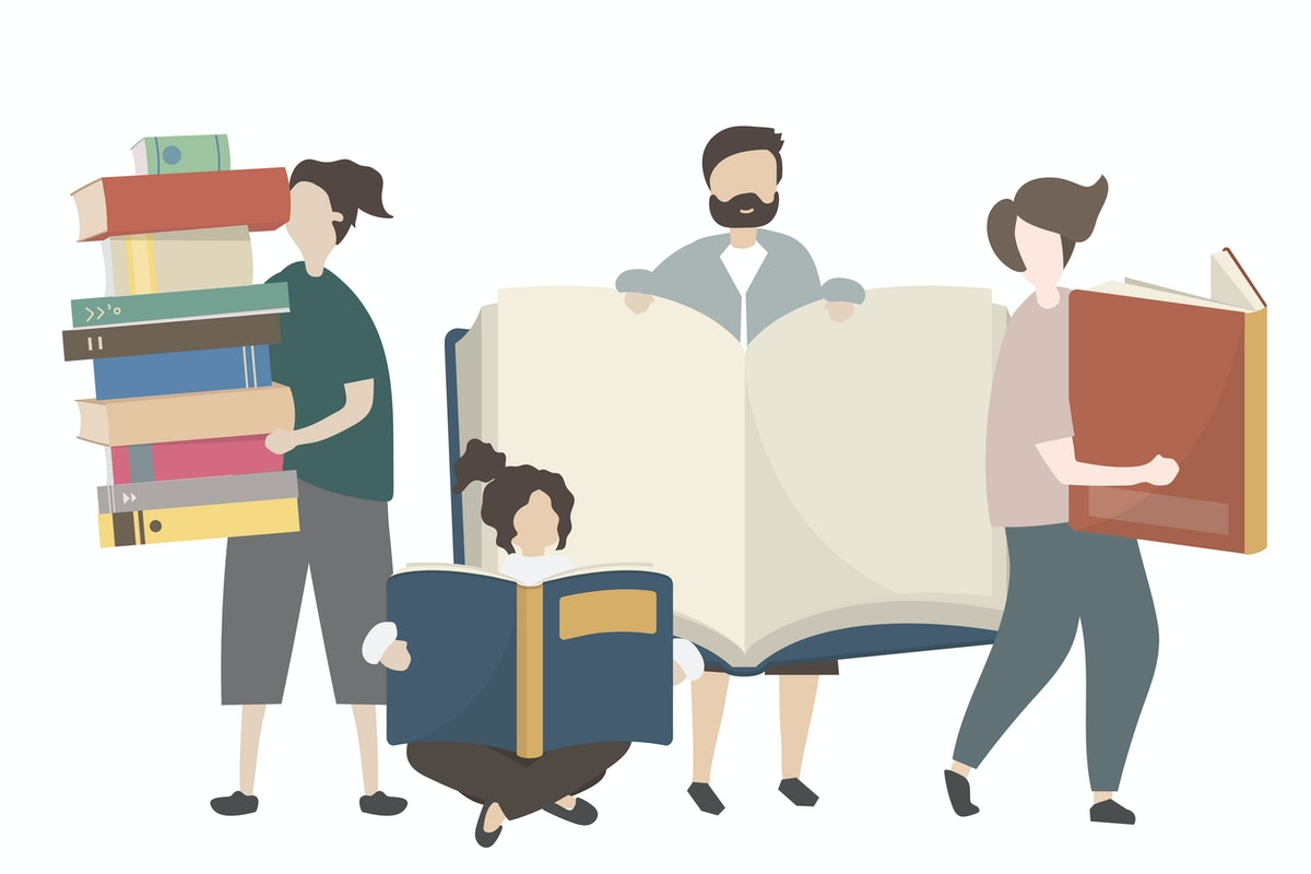 des personnes avec des livres dans les mains