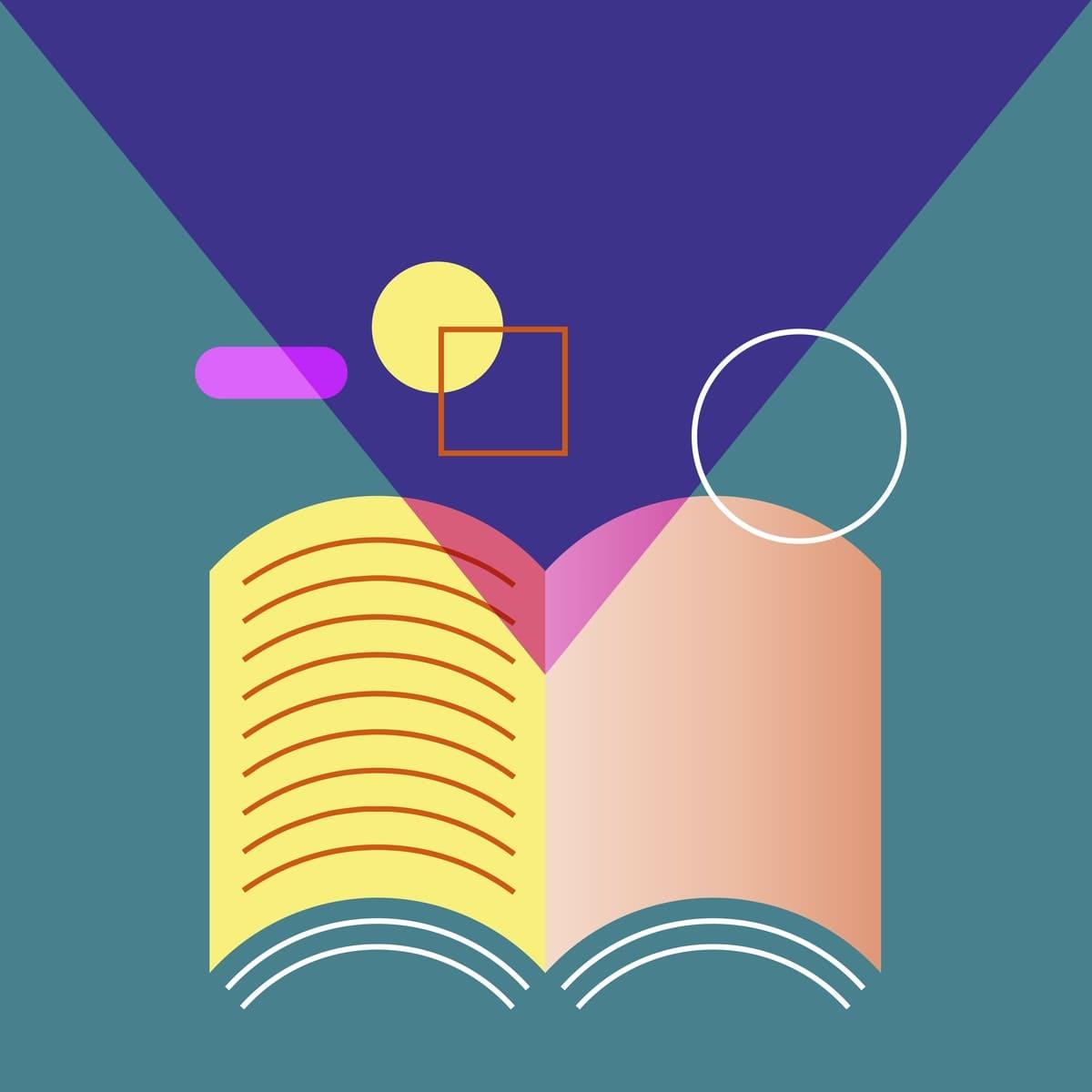 le schéma d'un livre avec des formes géométriques