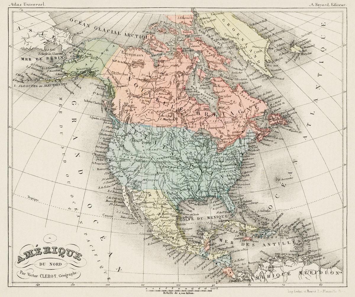 carte de géographie contemporaine des états unis d'Amérique