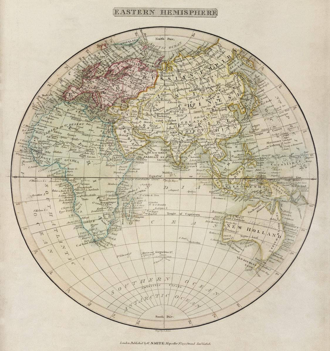 carte du monde centrée sur l'océan indien