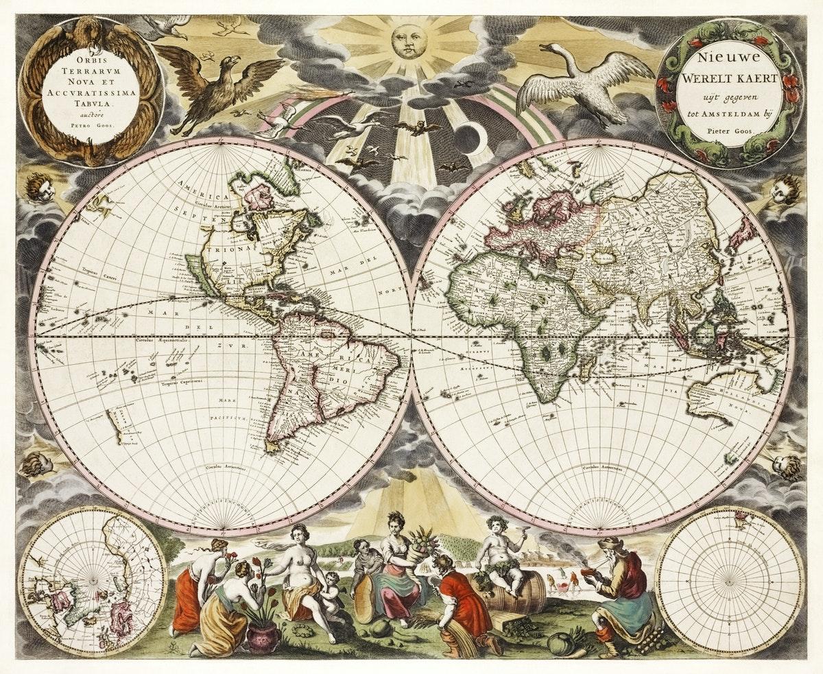 Carte du XVIIe siècle avec deux médaillons, à gauche les Amériques et à droite le vieux continent