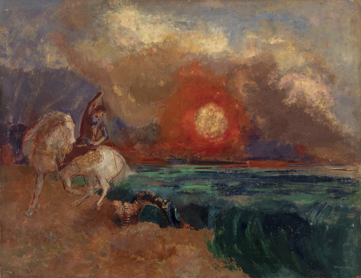 tableau historique d'Odilon Redon représentant St Georges tuant le dragon