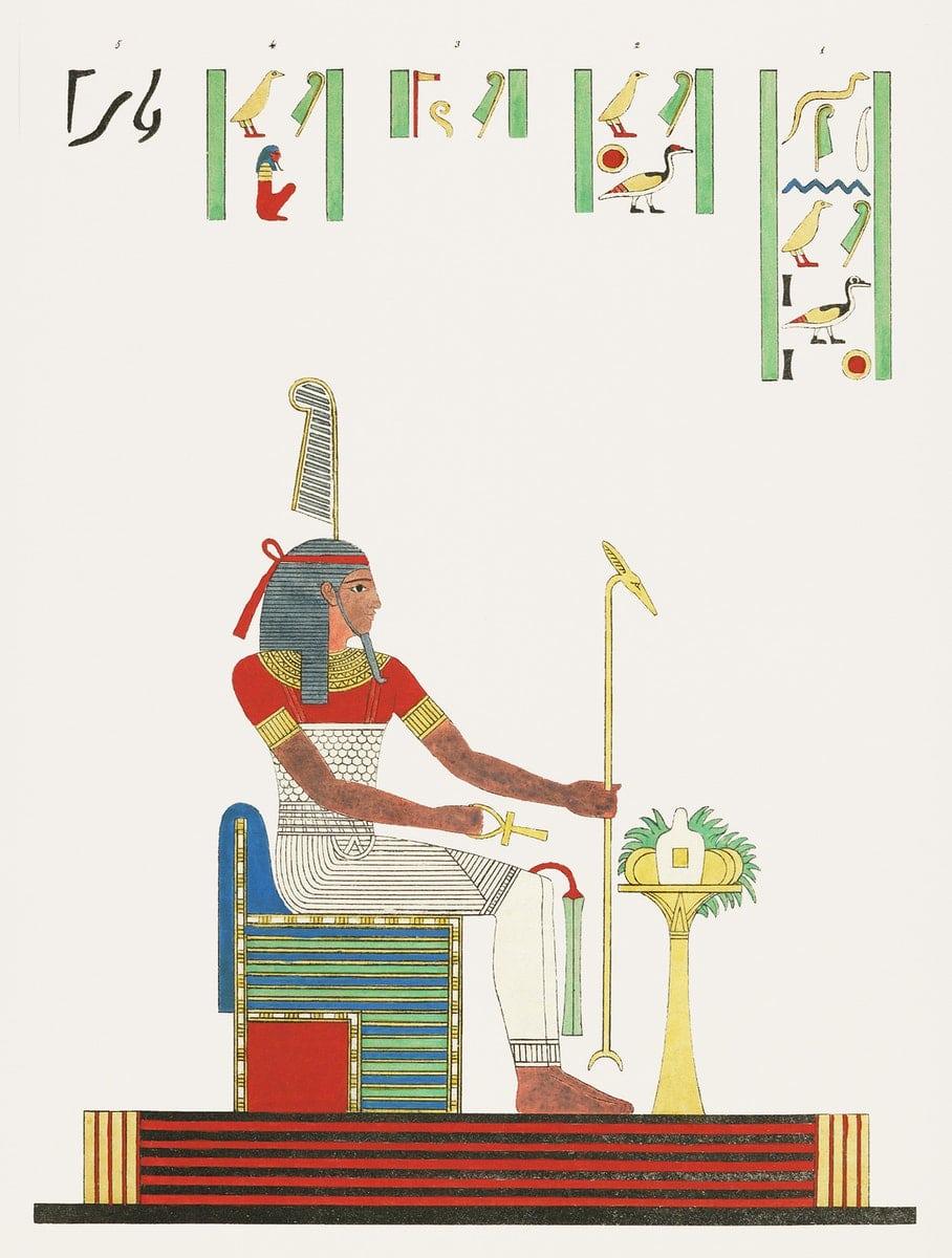 un pharaon avec une inscription en hiéroglyphe