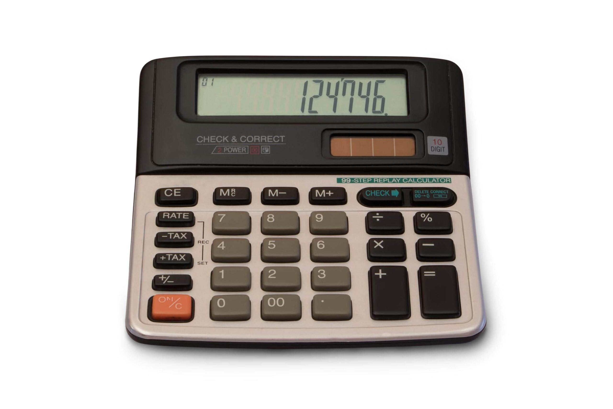 une calculatrice affichant une formule de maths