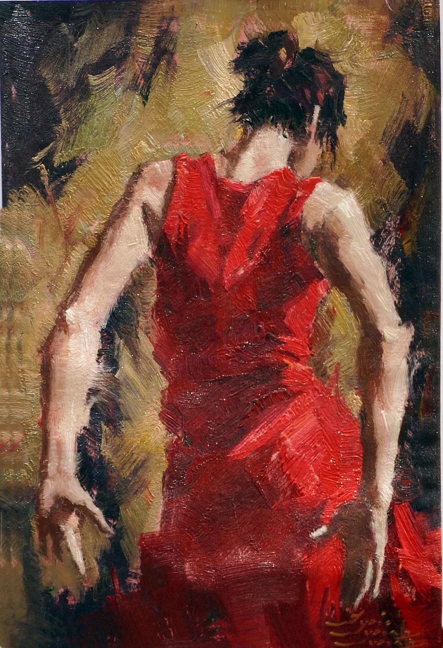 une peinture d'une danseuse espagnole de Flamenco