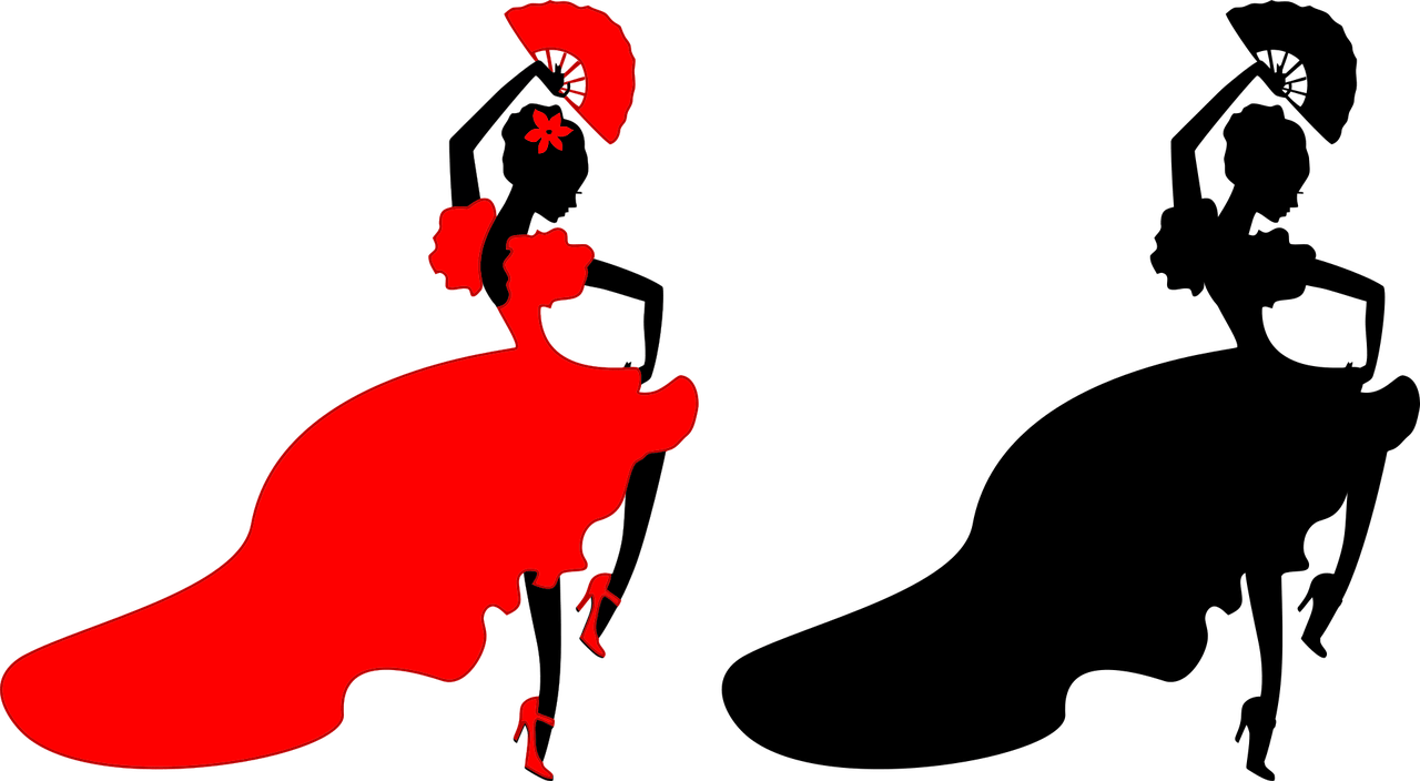deux danseuses espagnoles de Flamenco en rouge et noir