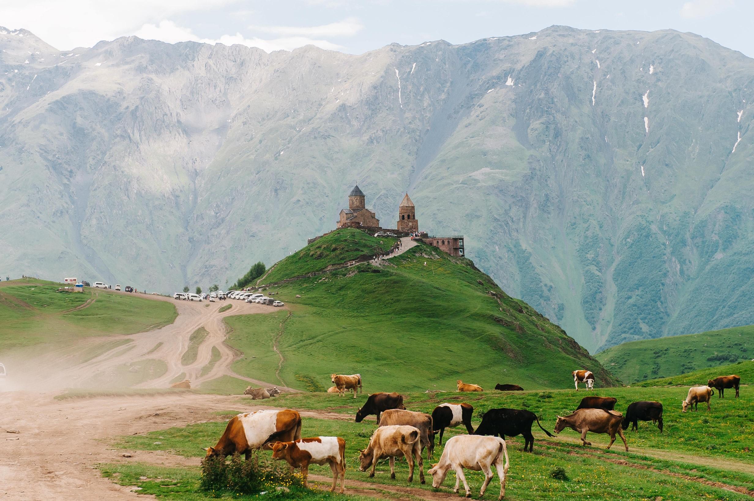 un paysage rural d'Asie centrale avec un troupeau et un monastère au milieu d'une steppe désertique