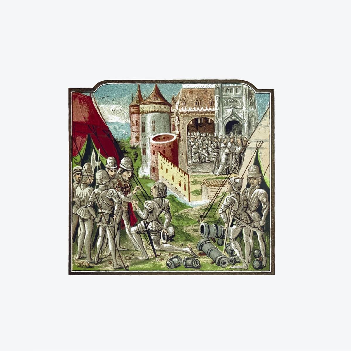 une enluminure de manuscrits représentant un chevalier se rendant