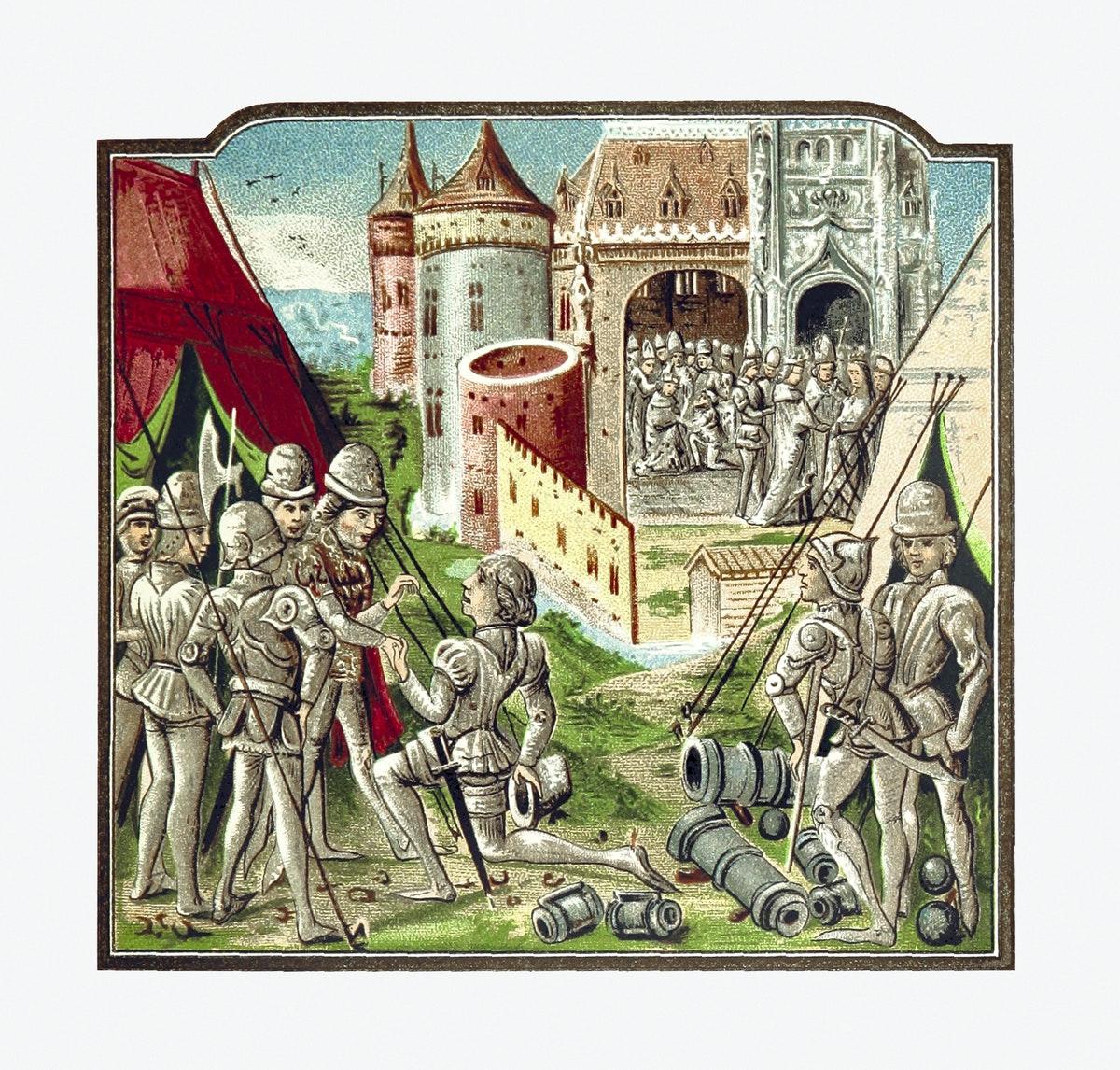 un chevalier rendant ses armes devant un château