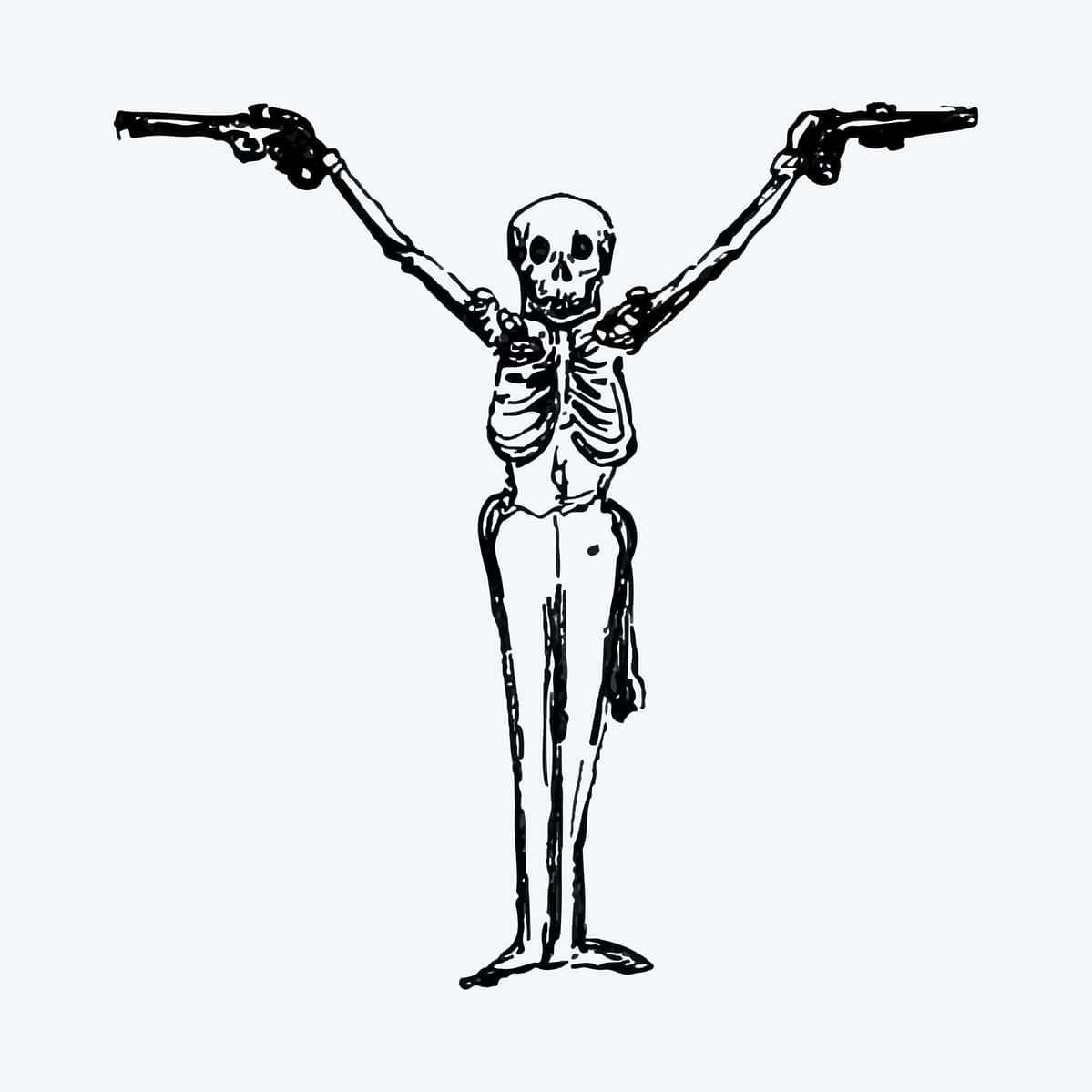 un squelette portant deux armes à feu