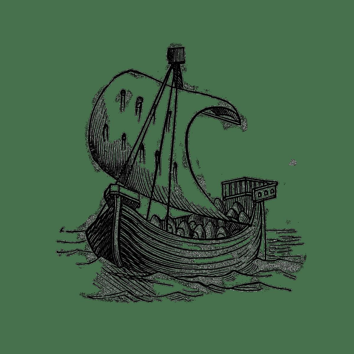 détail d'enluminure représentant une caravelle médiévale
